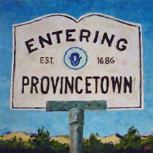 """Entering Provincetown III 12"""" x 12"""" x 2"""" Oil with a  palette knife on Ampersand Gessobord"""